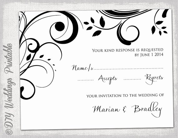Wedding Rsvp Cards Template Awesome Free Printable Wedding Rsvp Card Templates
