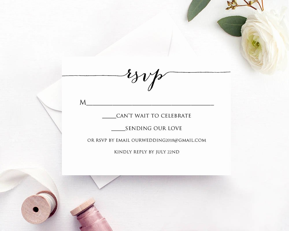 Wedding Rsvp Cards Template Beautiful Rsvp Card Printable Template · Wedding Templates and