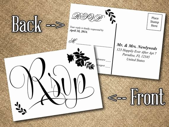 Wedding Rsvp Cards Template Best Of Diy Wedding Rsvp Postcard Word Template Vintage Romance