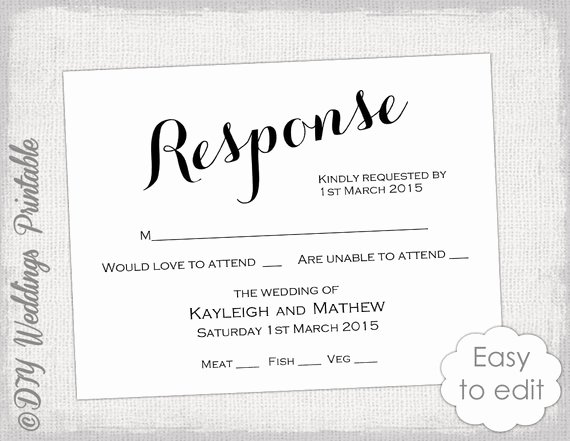 Wedding Rsvp Cards Template Best Of Rsvp Template Diy Calligraphy Carolyna Printable