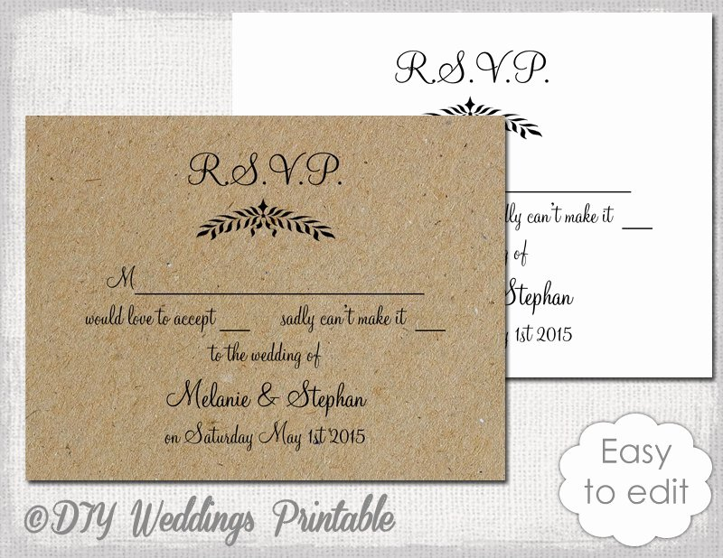 Wedding Rsvp Cards Template Elegant Rustic Wedding Rsvp Template Leaf Garland