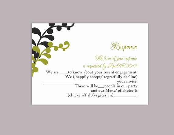 Wedding Rsvp Cards Template Fresh Diy Wedding Rsvp Template Editable Text Word File Download
