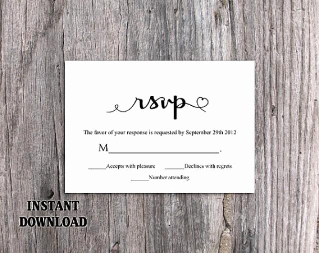 Wedding Rsvp Cards Template Fresh Diy Wedding Rsvp Template Editable Word File Instant