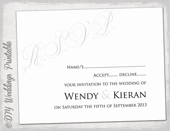 Wedding Rsvp Cards Template Fresh Wedding Rsvp Template Diy Silver Gray Calligraphy