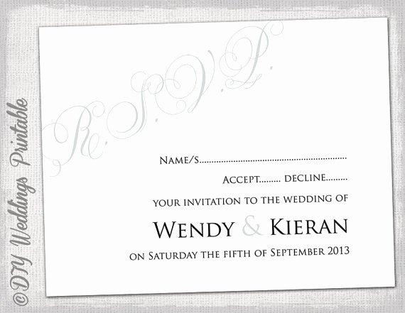 Wedding Rsvp Cards Template Fresh Wedding Rsvp Template Diy Silver Gray Calligraphy
