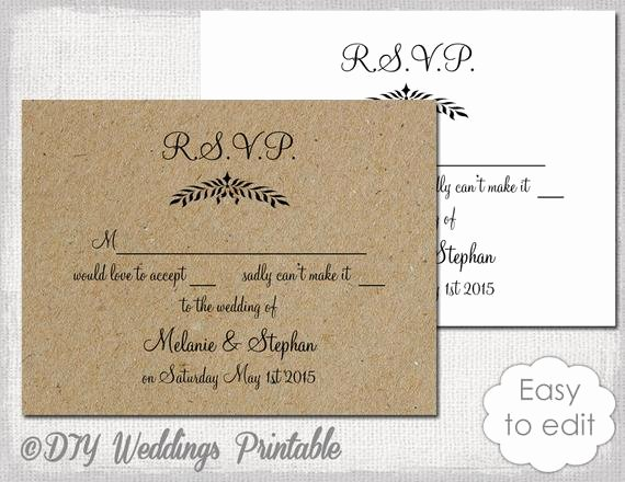 Wedding Rsvp Cards Template Inspirational Rustic Wedding Rsvp Template Leaf Garland