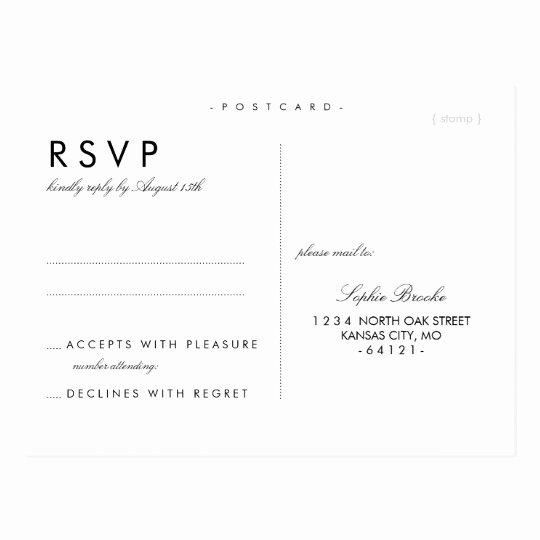 Wedding Rsvp Cards Template Inspirational Simple Chic Wedding Rsvp Postcard Template