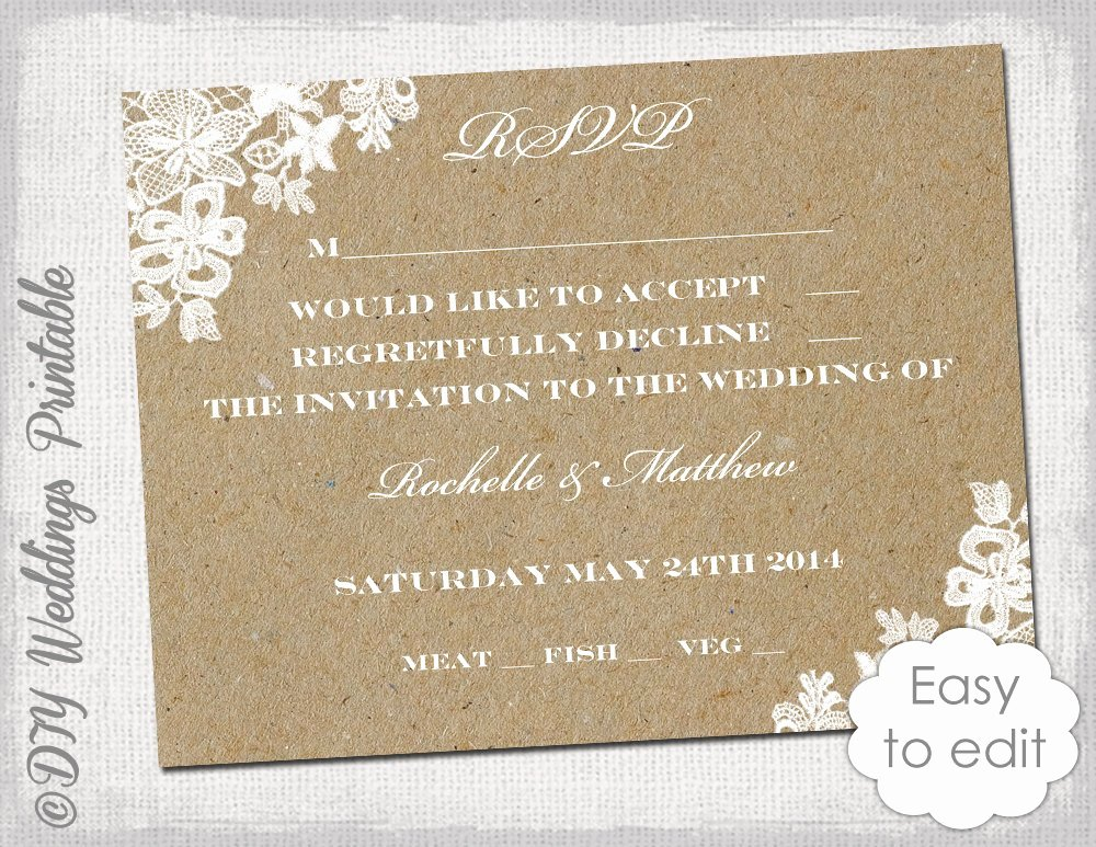 Wedding Rsvp Cards Template Inspirational Wedding Rsvp Template Rustic Lace Printable