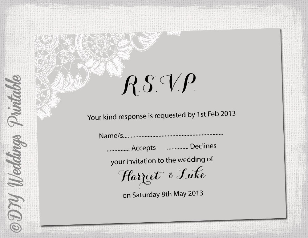 Wedding Rsvp Cards Template Lovely Wedding Rsvp Template Diy Silver Gray Antique