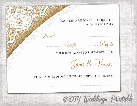 Wedding Rsvp Cards Template Luxury Rustic Wedding Rsvp Template by Diyweddingsprintable