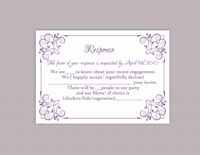 Wedding Rsvp Cards Template New Diy Wedding Rsvp Template Editable Text Word File Download