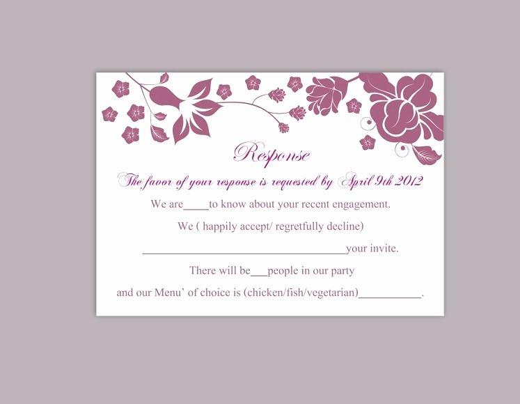 Wedding Rsvp Cards Template New Diy Wedding Rsvp Template Editable Word File Instant