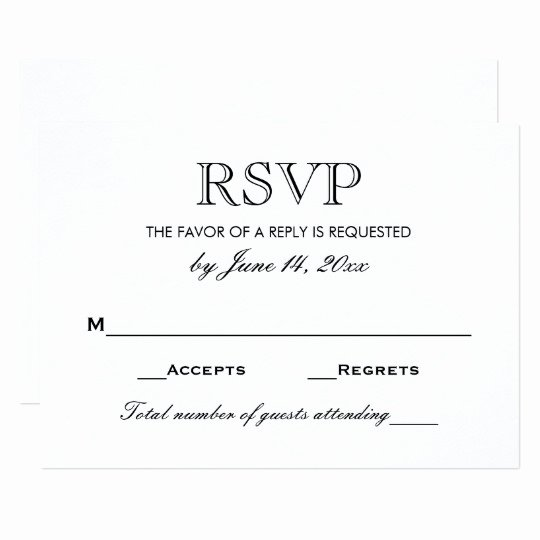 Wedding Rsvp Cards Template New Wedding Rsvp Card Black and White