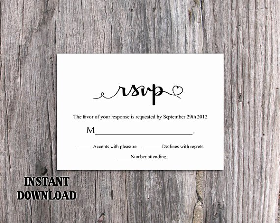 Wedding Rsvp Cards Template Unique Diy Wedding Rsvp Template Editable Word File Instant