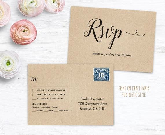 Wedding Rsvp Postcard Template Awesome Printable Rsvp Postcard Template Wedding Postcard Rsvp