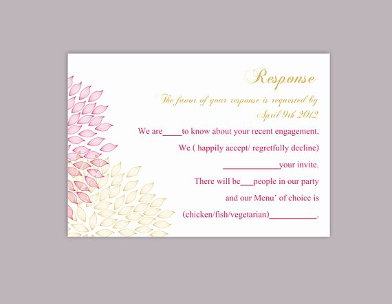 Wedding Rsvp Postcard Template Beautiful Diy Wedding Rsvp Template Editable Word File Instant