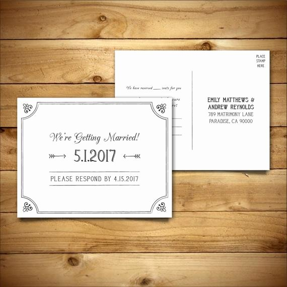 Wedding Rsvp Postcard Template Best Of Rsvp Diy Wedding Template Rsvp Postcard Template Rustic
