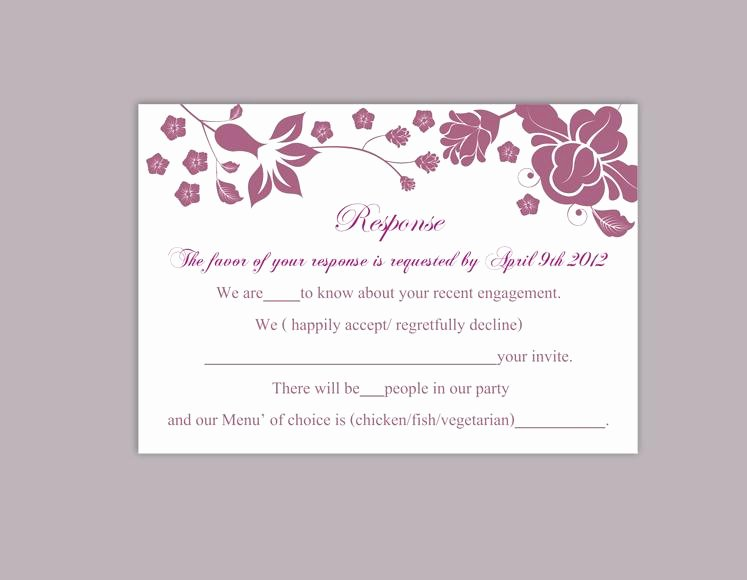 Wedding Rsvp Postcard Template Elegant Diy Wedding Rsvp Template Editable Word File Instant