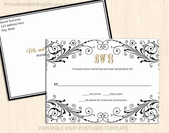 Wedding Rsvp Postcard Template Elegant Elegant Wedding Rsvp Postcard Template Wordc Response