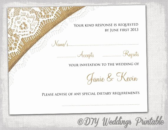 Wedding Rsvp Postcard Template Elegant Rustic Wedding Rsvp Template by Diyweddingsprintable