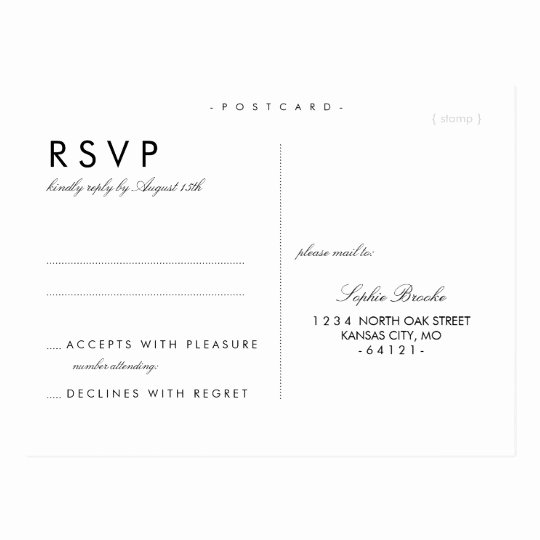 Wedding Rsvp Postcard Template Elegant Simple Chic Wedding Rsvp Postcard Template