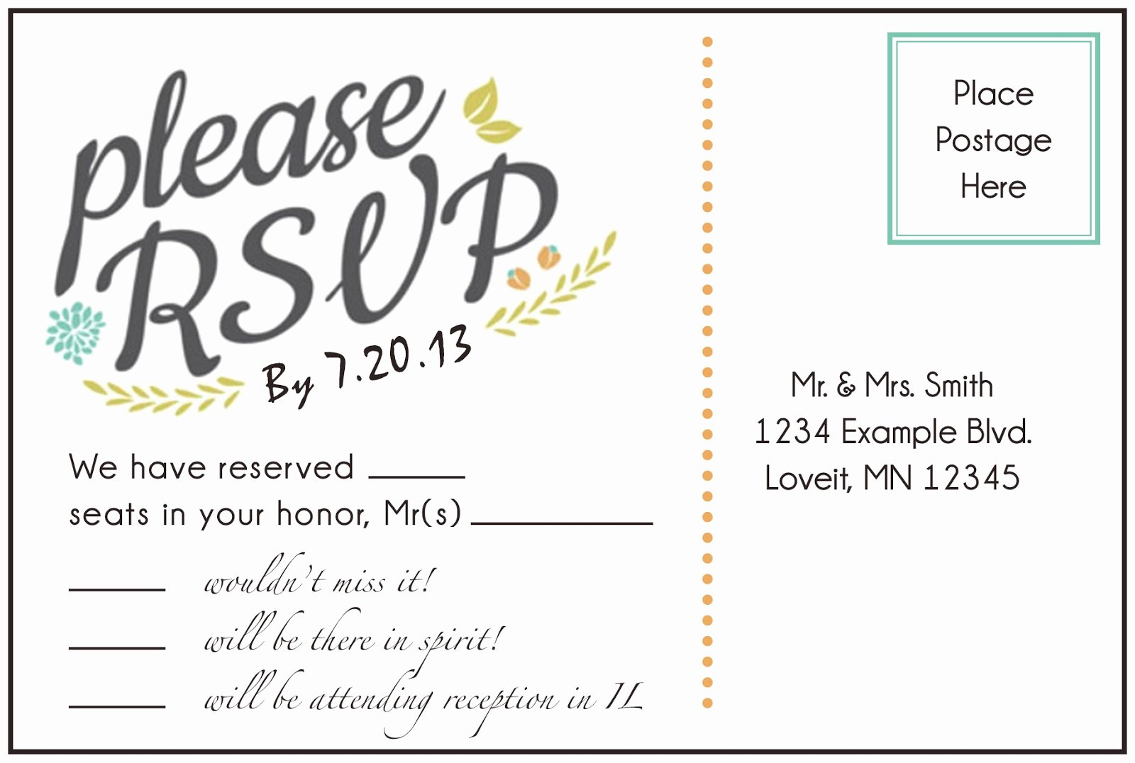 Wedding Rsvp Postcard Template Fresh 6 Best Of Able Postcard Templates Free Gift