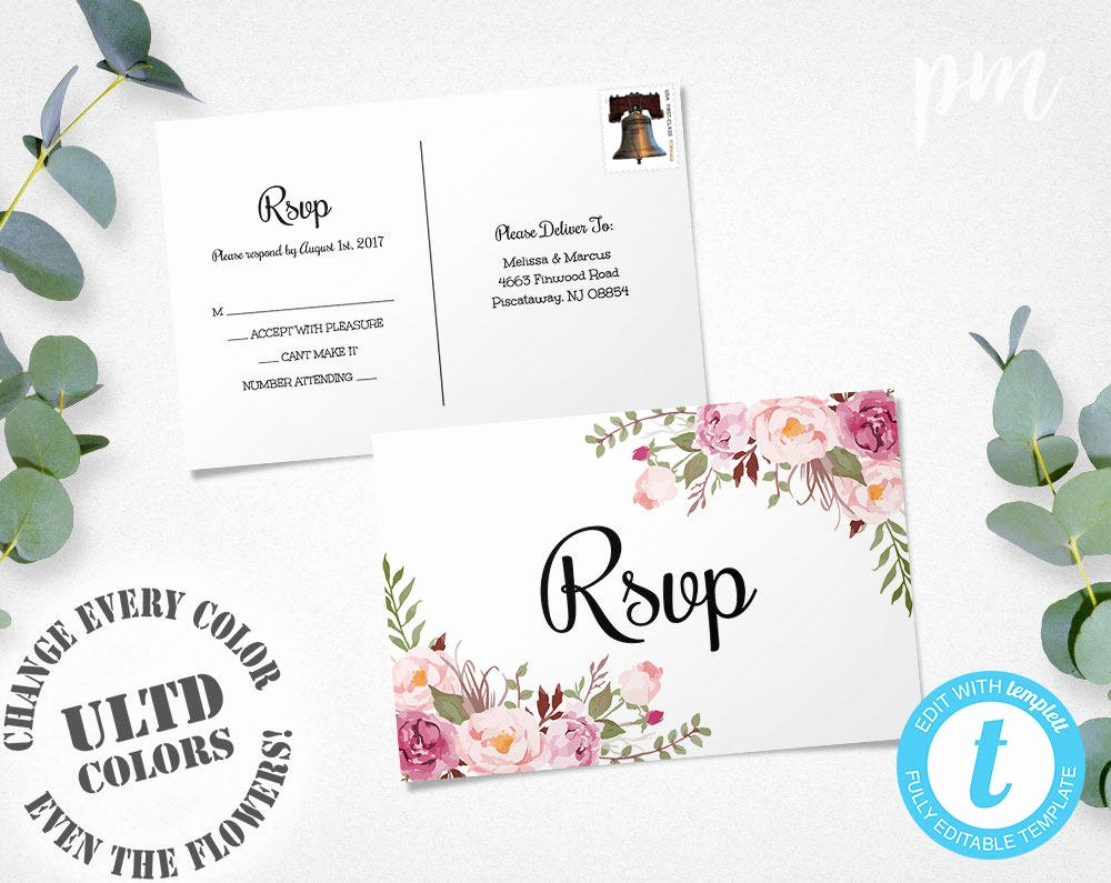 Wedding Rsvp Postcard Template Fresh Floral Rsvp Postcard Template Wedding Rsvp Response Card