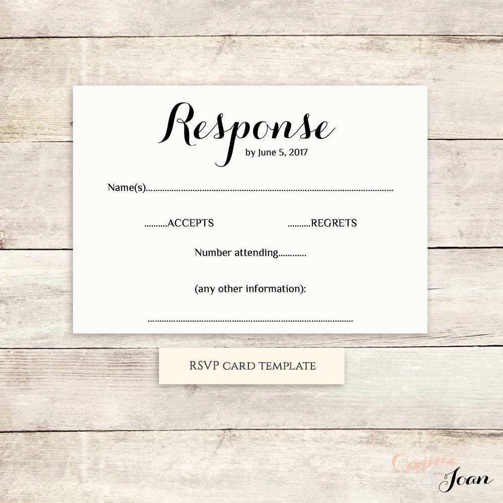 Wedding Rsvp Postcard Template Fresh Printable Wedding Rsvp Template Rsvp Card byron Any