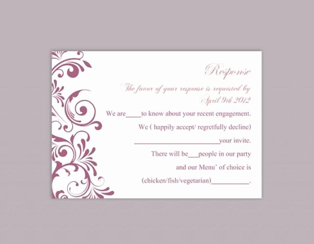 Wedding Rsvp Postcard Template Inspirational Diy Wedding Rsvp Template Editable Text Word File Download