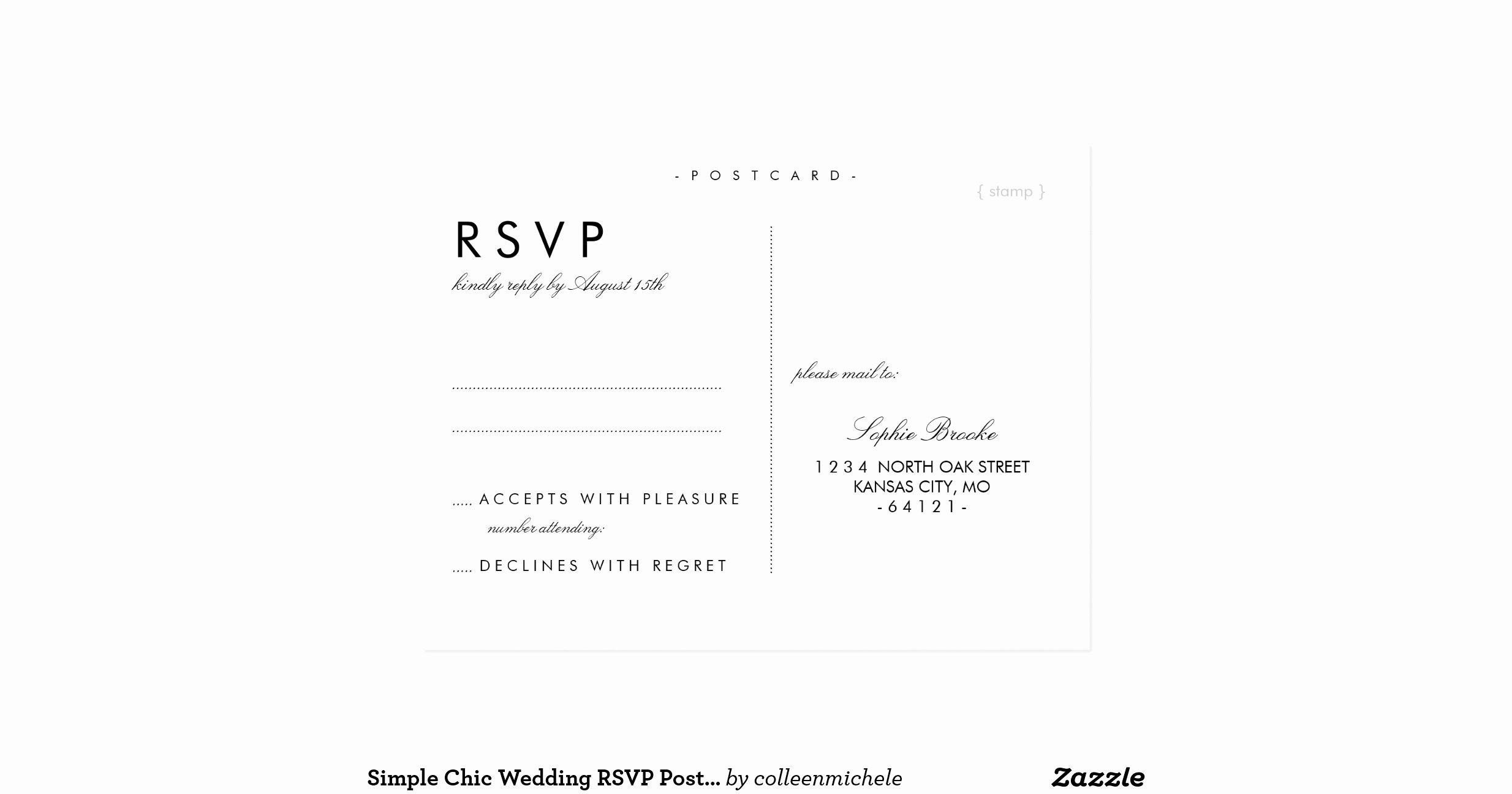 Wedding Rsvp Postcard Template Lovely Simple Chic Wedding Rsvp Postcard Template