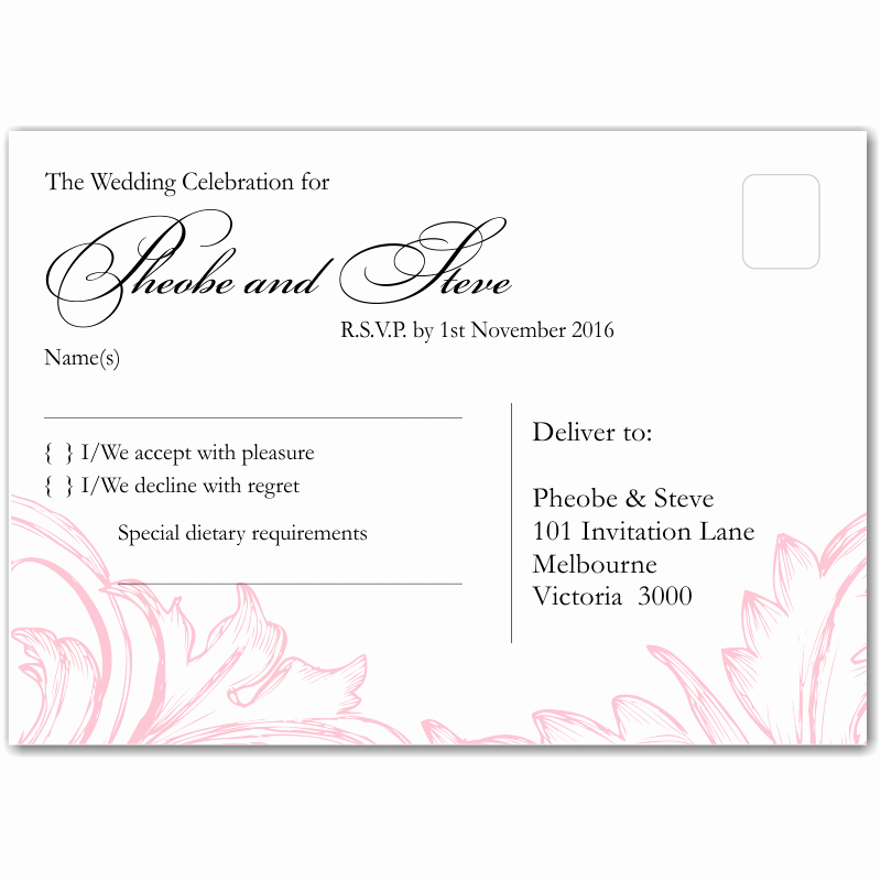 Wedding Rsvp Postcard Template Luxury Bud Wedding Invitationsplace Cards Damask Pink