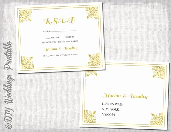 Wedding Rsvp Postcard Template Luxury Rsvp Postcard Template Diy Gold Classic