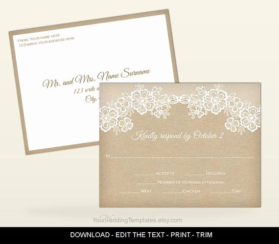 Wedding Rsvp Postcard Template New Rustic Rsvp Postcard Template Printable Wedding Rsvp
