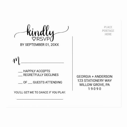 Wedding Rsvp Postcard Template New Simple Black & White Calligraphy song Request Rsvp