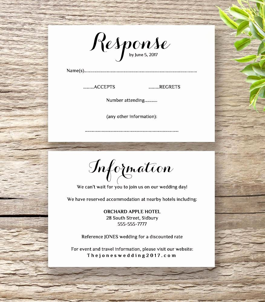 Wedding Rsvp Postcard Template Unique Printable Wedding Invitation Rsvp Information Templates