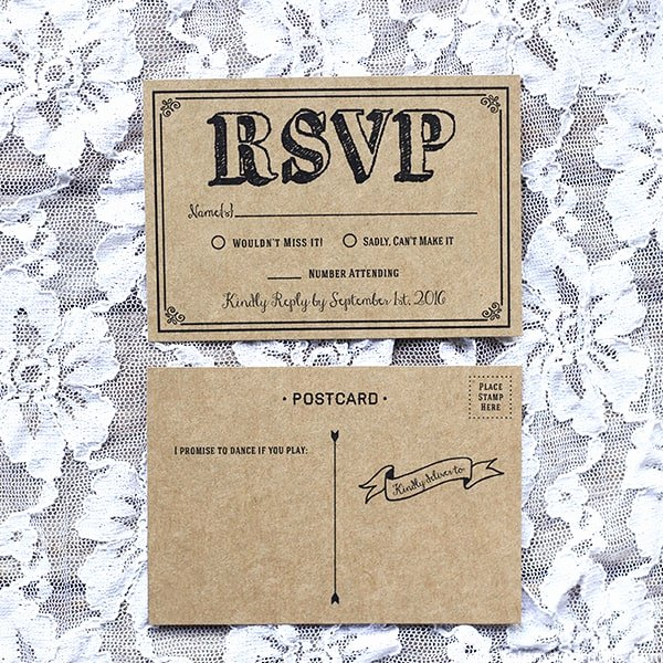 Wedding Rsvp Postcards Template Awesome Black Rustic Vintage Diy Wedding Invitation Set