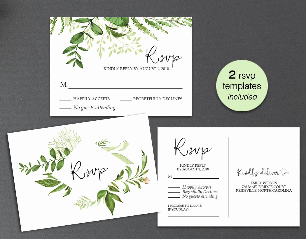 Wedding Rsvp Postcards Template Awesome Rsvp Card Rsvp Postcard Rsvp Template Greenery Wedding Rsvp