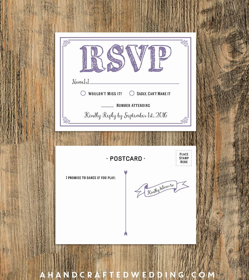 Wedding Rsvp Postcards Template Beautiful $10 Rsvp Postcard Lavender Sample Diy Rsvp Postcard
