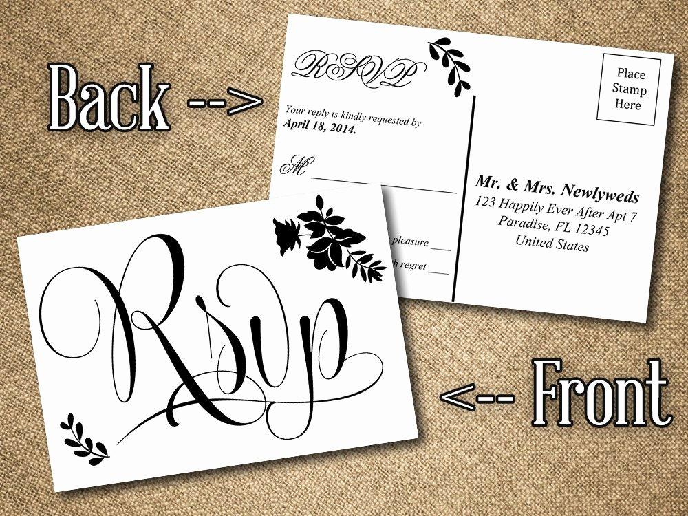 Wedding Rsvp Postcards Template Elegant Diy Wedding Rsvp Postcard Word Template Vintage Romance