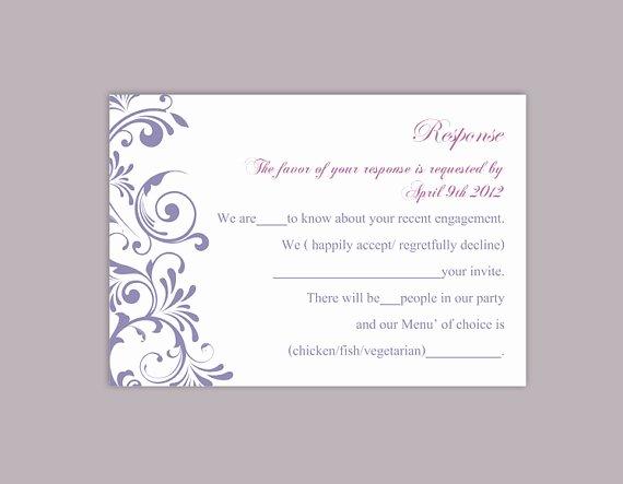 Wedding Rsvp Postcards Template Elegant Diy Wedding Rsvp Template Editable Word File Instant