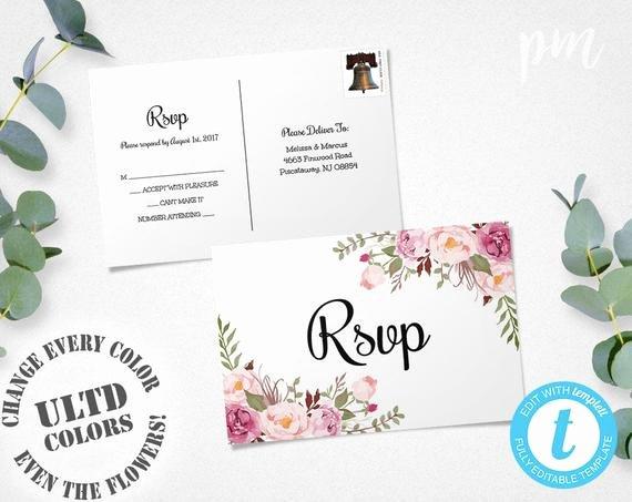 Wedding Rsvp Postcards Template Elegant Floral Rsvp Postcard Template Wedding Rsvp Response Card