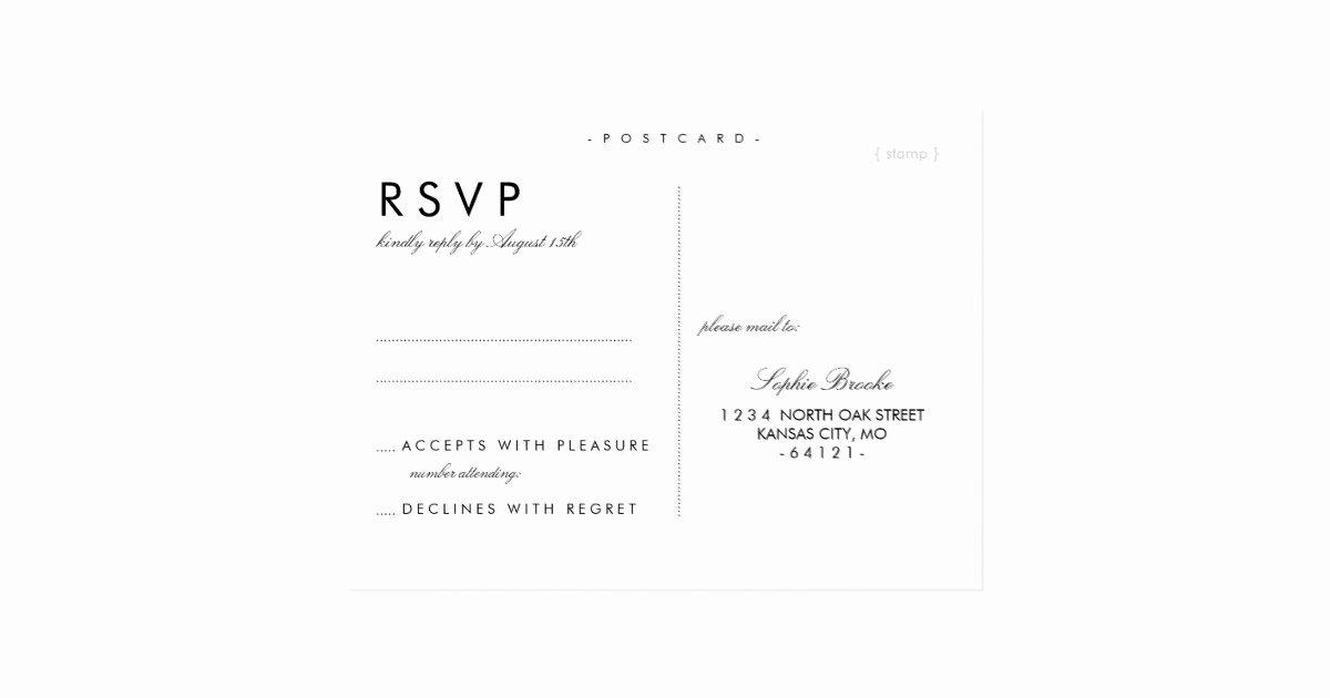 Wedding Rsvp Postcards Template Elegant Simple Chic Wedding Rsvp Postcard Template