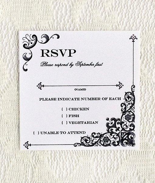 Wedding Rsvp Postcards Template Elegant Vintage Iron & Lace Square Rsvp Template