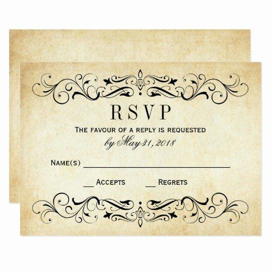 Wedding Rsvp Postcards Template Elegant Vintage Wedding Rsvp Cards Elegant Flourish