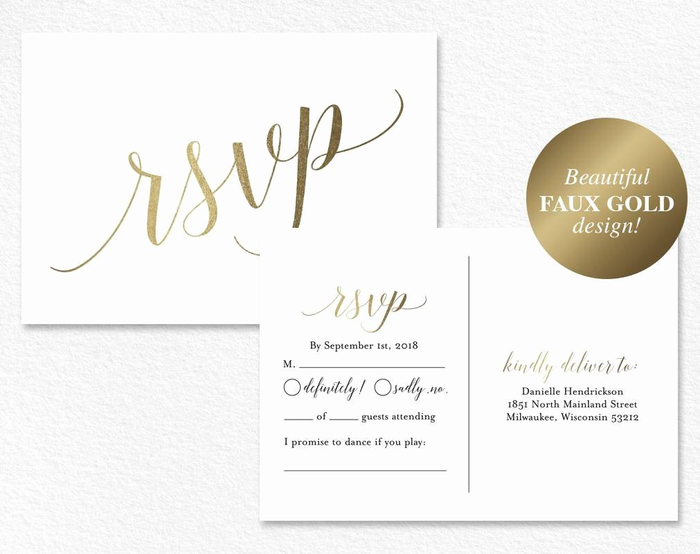 Wedding Rsvp Postcards Template Luxury Faux Gold Rsvp Postcard Rsvp Postcard Rsvp Template
