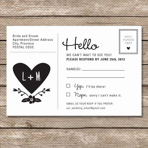 Wedding Rsvp Postcards Template New Wedding Rsvp Postcard Printable Pdf Garden Whimsy
