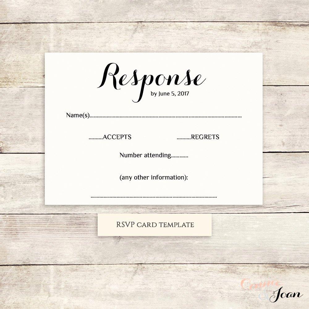 Wedding Rsvp Postcards Template Unique Printable Wedding Rsvp Template Rsvp Card byron Any