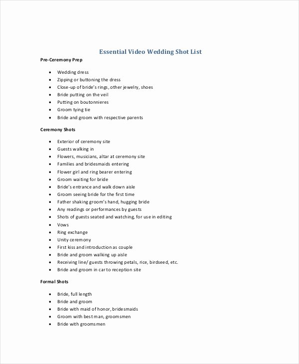 Wedding Shot List Template Awesome Shot List Template 10 Free Word Pdf Psd Documents