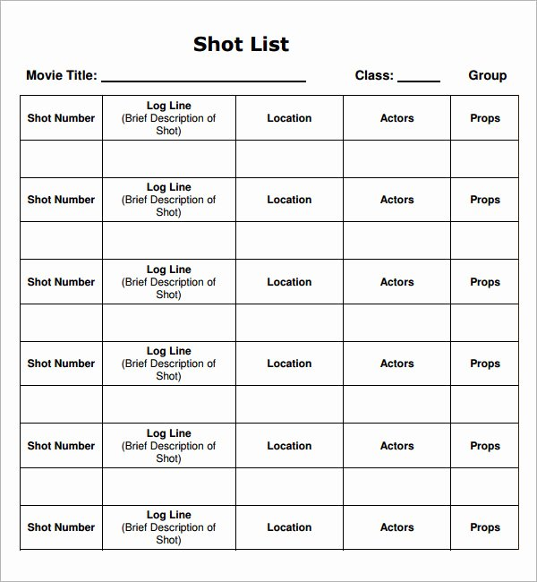Wedding Shot List Template Awesome Shot List Template 14 Download Free Documents In Word