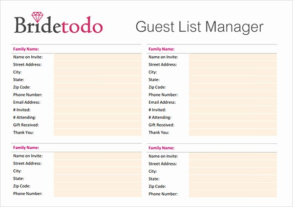 Wedding Shot List Template Best Of 17 Wedding Guest List Templates – Pdf Word Excel